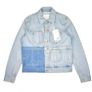 9007bbe21f5 NWT  1.3k Maison Margiela Men s Patchwork Blue Denim Trucker Jacket ...