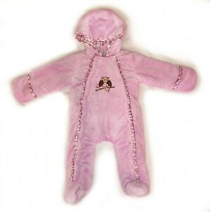 4c40b42d7 BABY GIRL Little by Little Cozy Pink Plush Snow Suit Coverall One ...