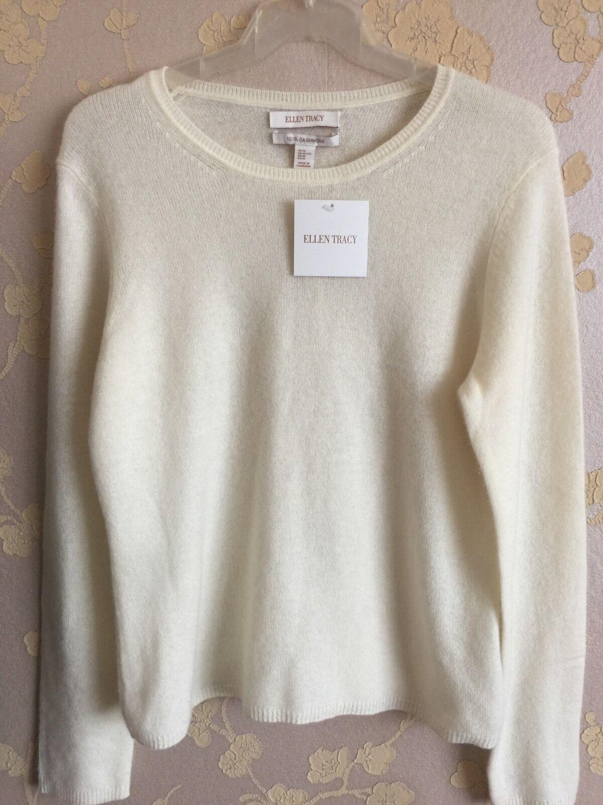 New ELLEN TRACY 100% Cashmere Knit Sweater Size XL UK BNWT