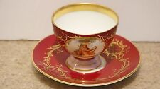 19th Century Royal Vienna Hand Paint Cup and Saucer Musical Woman  KPM