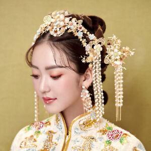 Retro-Chinese-Bridal-Crown-Tiaras-Clips-Wedding-Headdress-Accessory-Earrings-Set