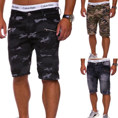 Uomo Jeans-Bermuda Pantaloncini Jeans Shorts Pantaloni Corti Chino NUOVO MIMETICO