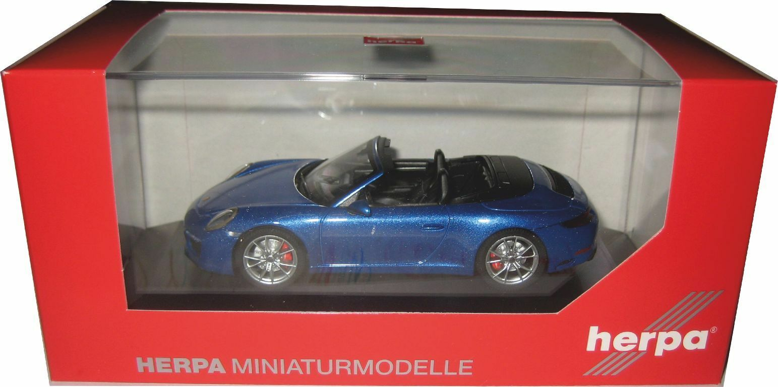 Herpa 070997 Porsche 911 Carrera S Cabriolet 991 II Saphir bleumet. 1 43