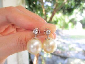 .20 Carat Diamond White Gold Dangling Earrings w/Pearl 18k sepvergara