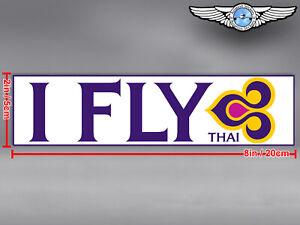 THAI AIRWAYS I FLY THAI LOGO RECTANGULAR DECAL / STICKER