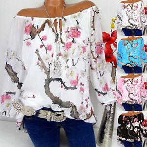 US-Womens-Off-Shoulder-Floral-Tops-Ladies-Summer-Loose-T-Shirt-Blouse-Plus-Size
