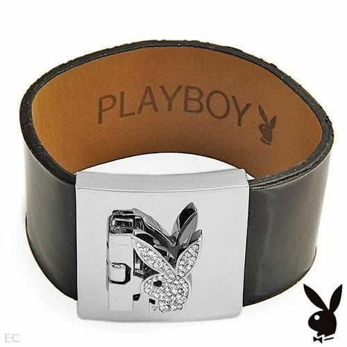 Playboy Bracelet Silver Swarovski Crystal Bunny Black Patent Leather Cuff NEW