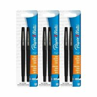 Paper Mate Flair Porous Felt Tip Pens Medium Point Black Ink (6... Free Shipping