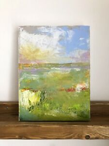 Original Abstract Landscape Acrylic Painting Of Pegwell Bay. Signed Art