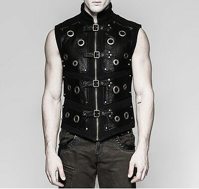 Punk Rave Men's Steampunk Gothic Rock Cyber Black Vest Top