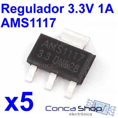 ESPAÑA 5 X AMS1117 3.3V 1A REGULADOR TENSION SMD SOT-223 MONTAJE SUPERFICIE