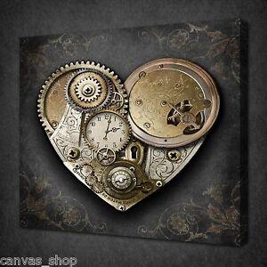 Coeur Steampunk coeur de steampunk horloge gold wall art photo canvas print prêt à