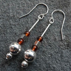 NWT-STERLING-SILVER-baltic-AMBER-bead-dangle-drop-modernist-pierced-earrings-K44
