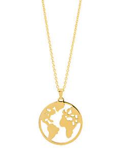 Weltkugel Anhanger Mit Kette Aus 925 Silber Weltkarte World