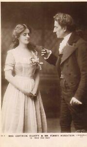 postcard of mrs gertrude elliott & mr forbes robertson in mice and men !