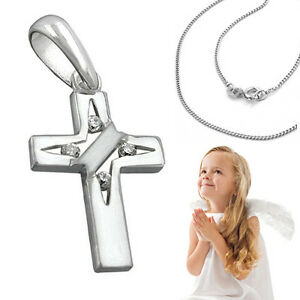 Kinder Kreuz Anhänger Taufe Kommunion Firmung mit Kette Länge wählbar Silber 925