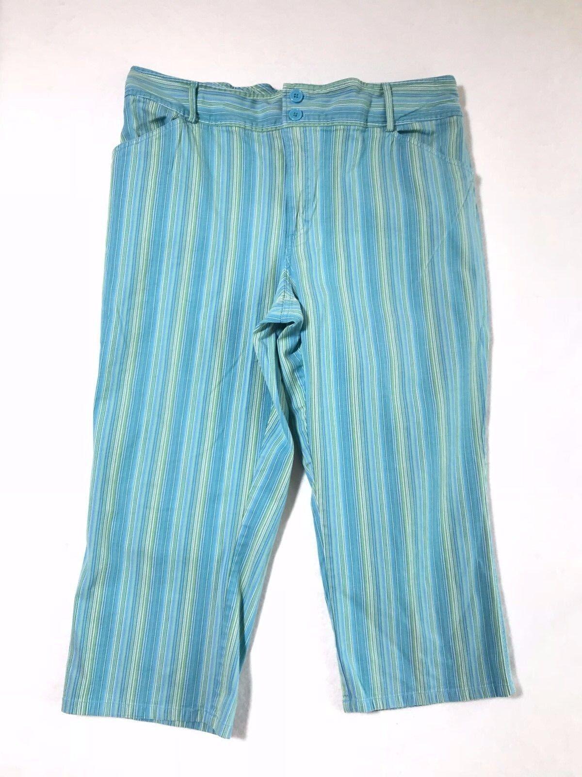 VENEZIA Women's Plus Size 22 Turquoise Green Stri… - image 1