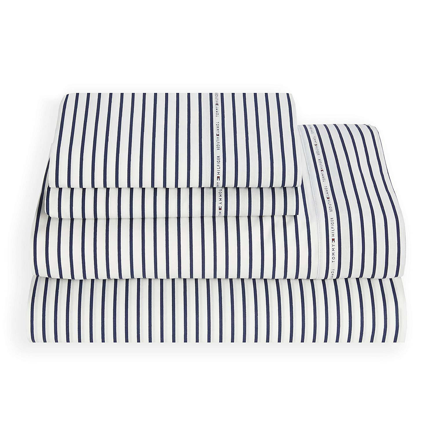 Tommy Hilfiger 4 Pc Queen Queen Queen Signature Stripe Sheet Set Navy & bianca Easy Care 1dec7c