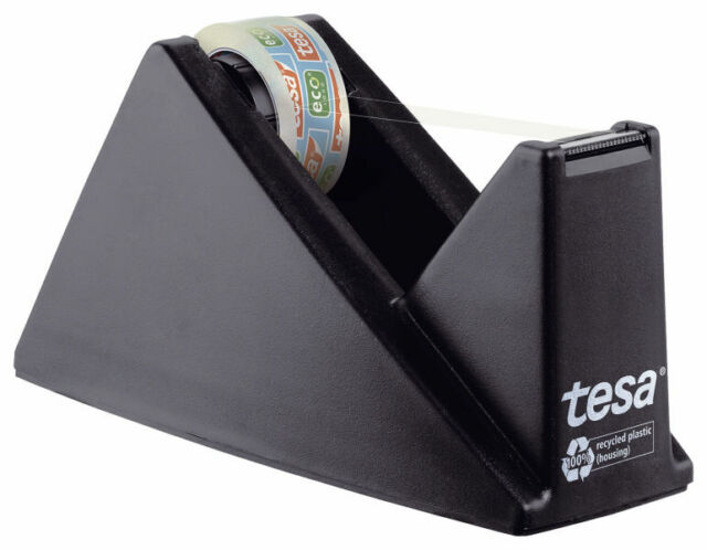 Tesa Tischabroller 59327 + 1 Rolle Eco & Clear 10m x 15mm aus recyceltem Plastik