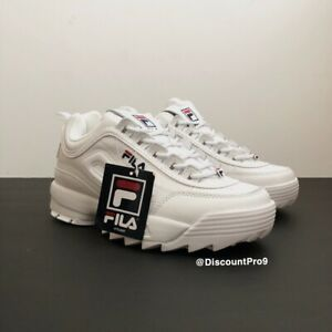 Details about FILA Womens Disruptor II Premium Sneakers White Navy Red Size 8.5 NWB