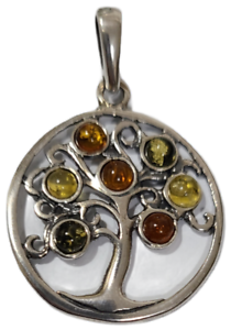 Tree of Life Round Pendant Baltic Multi Color Amber 925 Sterling Silver # 50