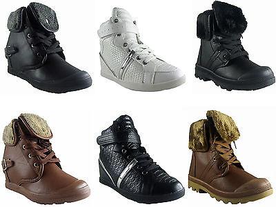 Nuevas señoras MUJERES Hightop Oculta Cuña Cleated Suela Alta Entrenador superior Zapato Bota
