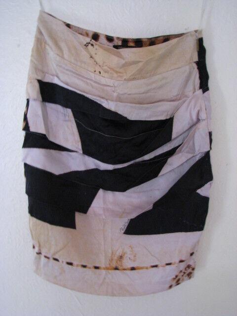 Roberto Cavalli Signature Silk Print pencil Skirt Trim Size 38, Size 8 UK