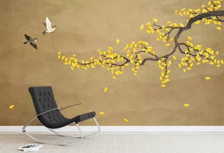 3D Vogel Branch H2397 Tapete Wandbild Selbstklebend Abnehmbare Aufkleber Wend