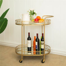 GLITZHOME KITCHEN SERVING BAR CART TROLLEY METAL MIRRORED 2 TIER ROLLING RACK
