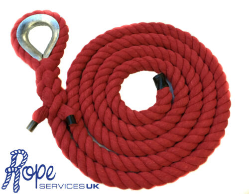 28mm Red Natural Cotton Gym Climbing Rope x 5 Metres With Galvanised Eye