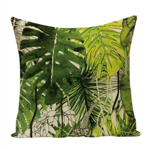"18/"" Tropical Green Plant Cushion Cover Custom Linen Throw Pillow Case Sofa Decor"