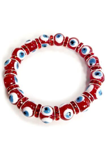 10mm RED  Glass Bead Evil Eye Turkish Eye Fashion Jewelry Bracelet #2723