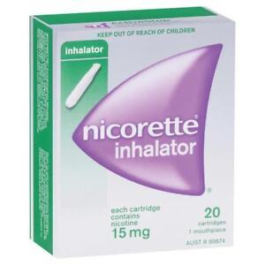 ツ Nicorette Inhalator 20 Cartridges 1 Mouthpeice Nicotine 15mg