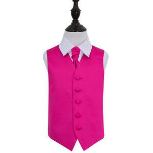 DQT-Satin-Plain-Solid-Hot-Pink-Boys-Wedding-Waistcoat-amp-Cravat-Set