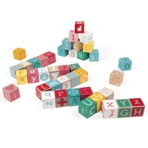 40 Letters and Numbers Wooden Blocks with Play Mat 2+ Janod Kubix