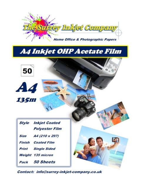 A4 Inkjet Transparency OHP Acetate Film 135 micron 50 SHEETS Instant Dry Film