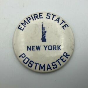 Vtg-3-034-Empire-State-New-York-Postmaster-1930-039-s-1940-039-s-Pin-Pinback-Button-Rare-Q5
