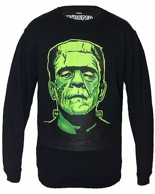 Twisted Apparel Black Frankenstein Sweatshirt Sweater Goth Horror Emo Scene