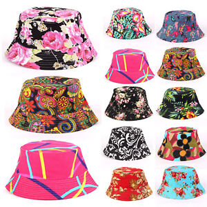 ed79139ef6930d Boho Flower Floral Beach Hat Men Women Sun Cap Bucket Hat Boonie ...