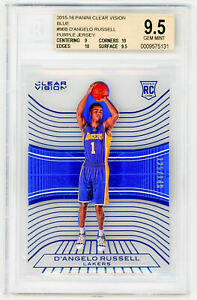 D-039-ANGELO-RUSSELL-2015-Panini-Clear-Vision-96-BLUE-149-ROOKIE-BGS-9-5-RC