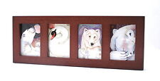 """ACEO picture frame for 2.5"""" x 3.5"""" art - four openings - WALNUT -  WOOD"""