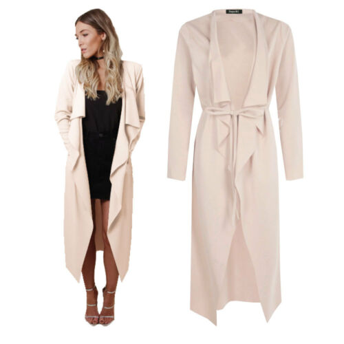 Nude Womens Maxi Midi Long Sleeved Belted Waterfall Duster Jacket coat Cardigan