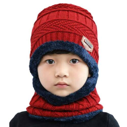 Kids Boys Girls Fleece Knit Beanie Hats And Scarf Set Winter Warm Thermal Caps