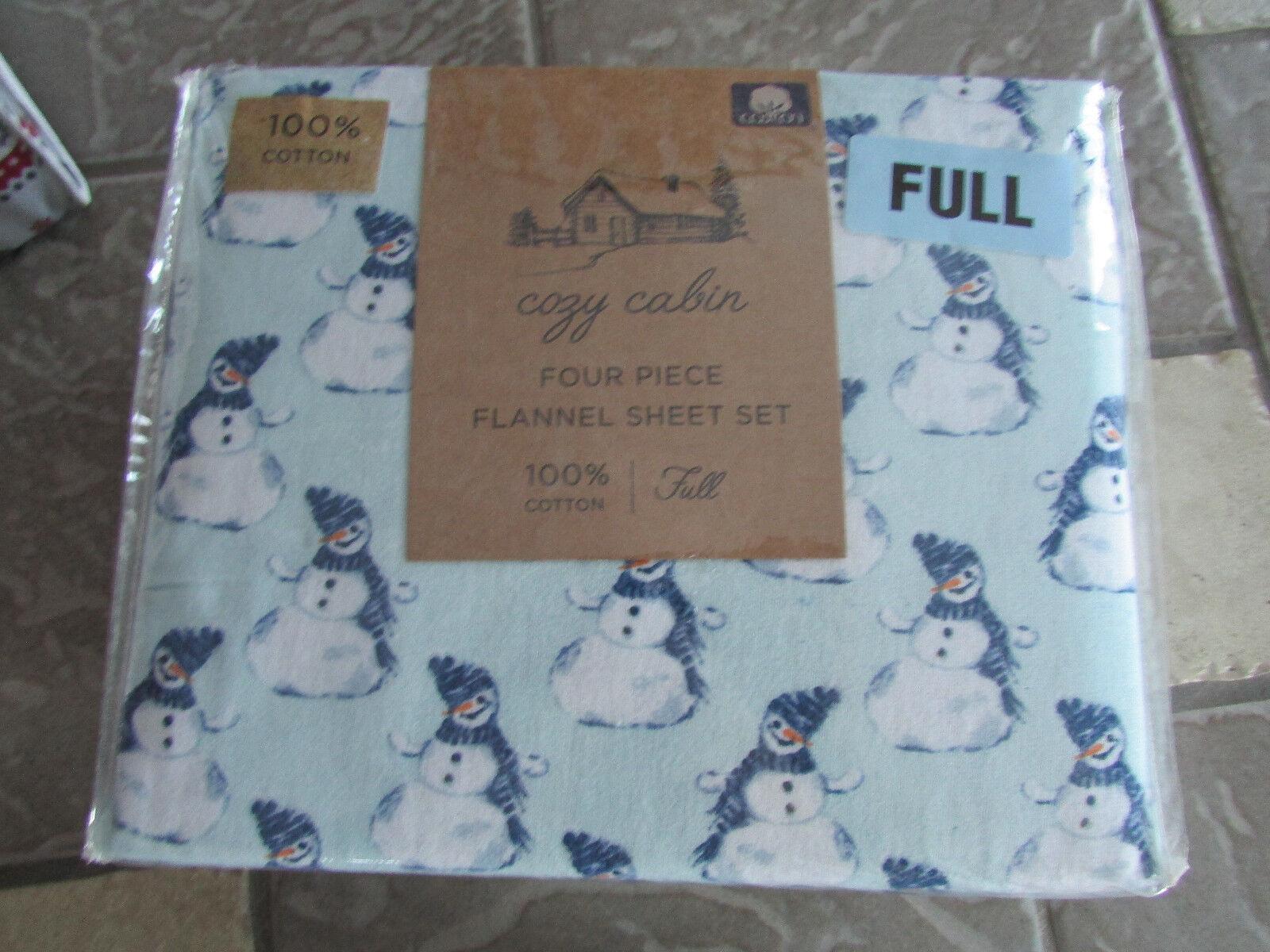 NEW FULL FLANNEL SHEET SET Blau SNOWMAN DOUBLE Größe SHEET SET COZY CABIN FLANNEL