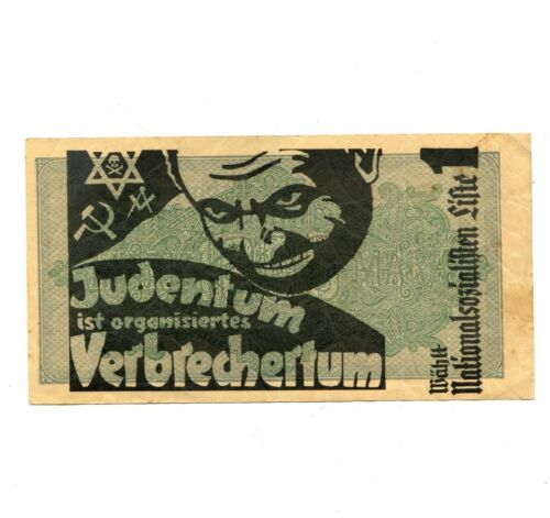 WW2 German Reichsmark Anti Semitic Judaica RRS Propaganda banknote, Judaika