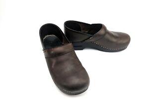 Dansko-Professional-Antique-Brown-Clogs-Leather-Womens-Size-EU-40-US-9-5-10