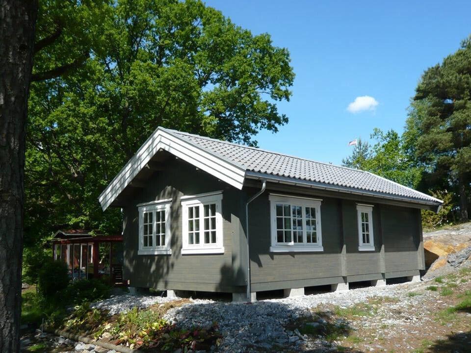 """Bjælkehytte - 40 m2 - Model """"Skoven 40""""."""