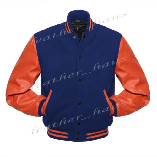 Superb Genuine Leather Sleeve Letterman College Varsity Wool Jackets #OS-CLRS-BB