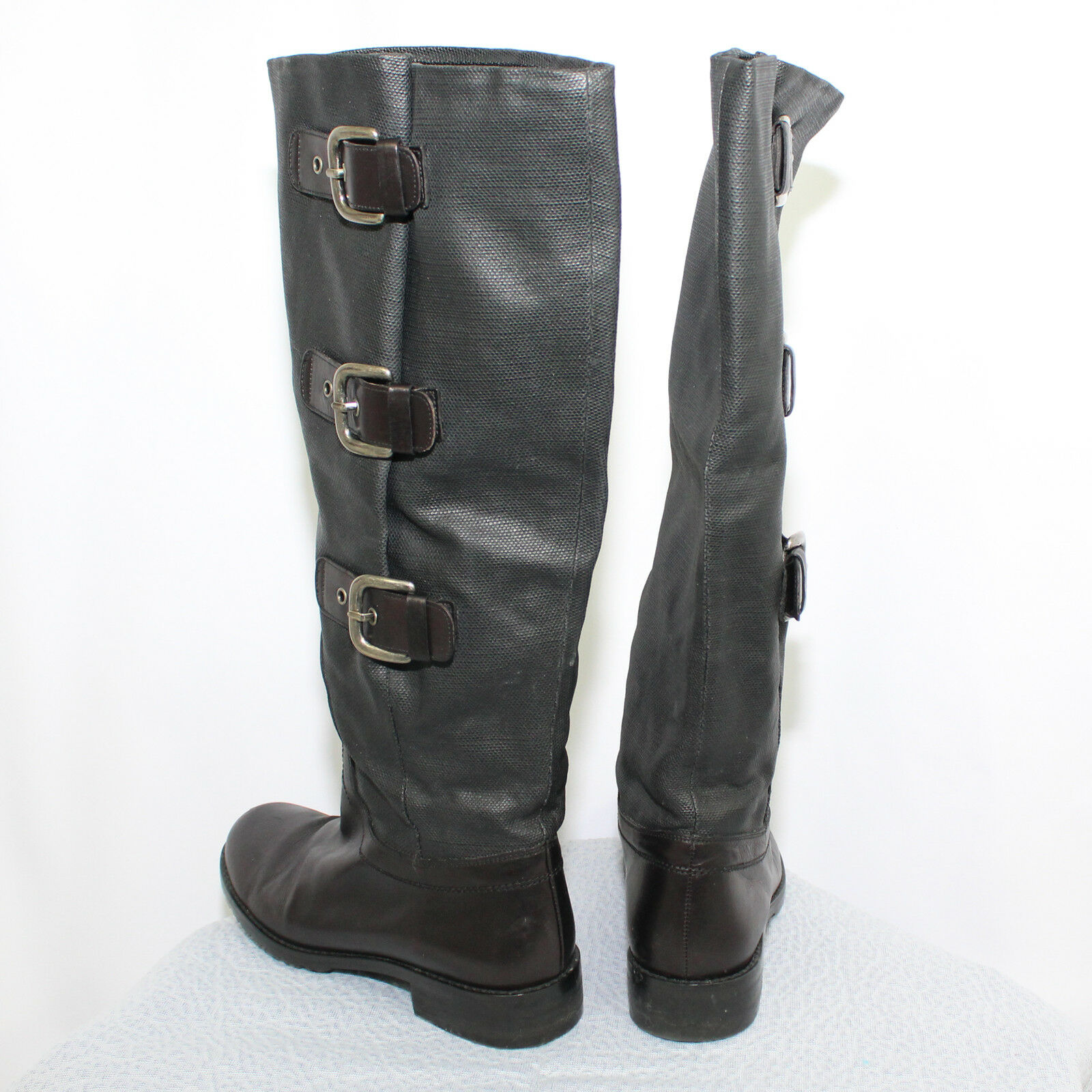 STUART WEITZMAN Tall Leather Coated Canvas Canvas Canvas Side Buckles Black Boots - Size 5M afb26c