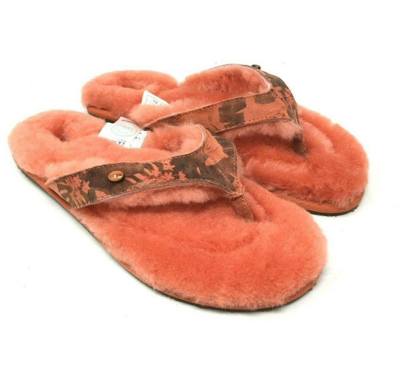 NIB Australia Luxe Womens Slide Sheepskin Thong Slide Slippers Size S (6-7)
